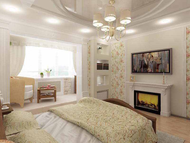 Спальни с балконом интерьер фото