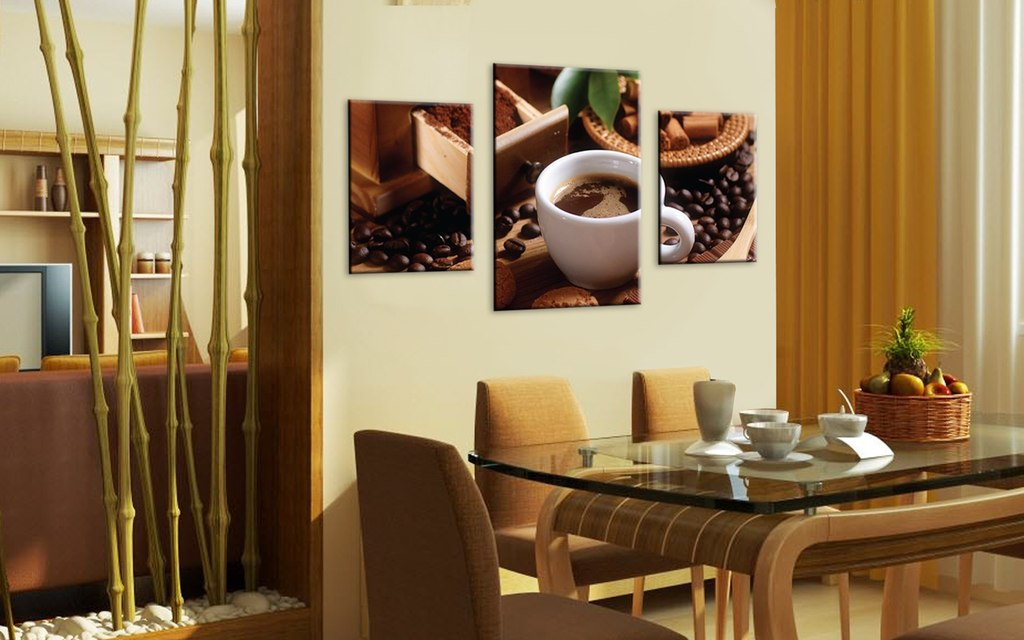 Модульные картины для кухни фото в интерьере